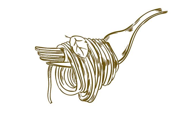 Frische Pasta auf der Gabel - gutes Abendessen in Wangen im Allgäu im Kreis Ravensburg